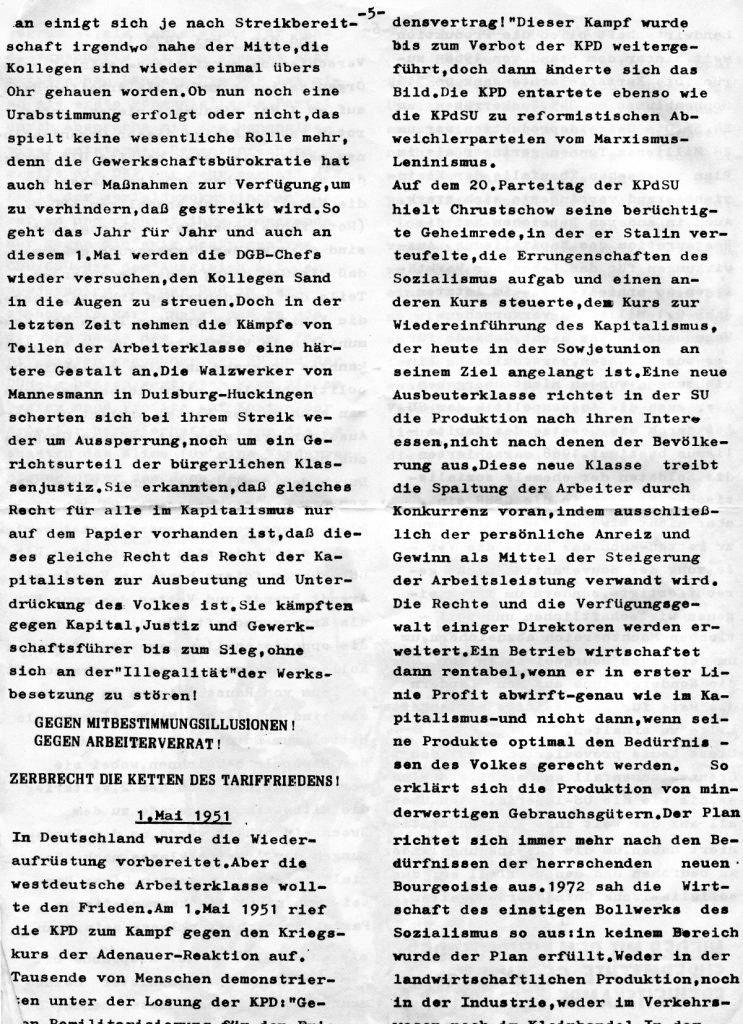 Essener Arbeiterzeitung, Nr. 1, Mai 1973, Seite 5