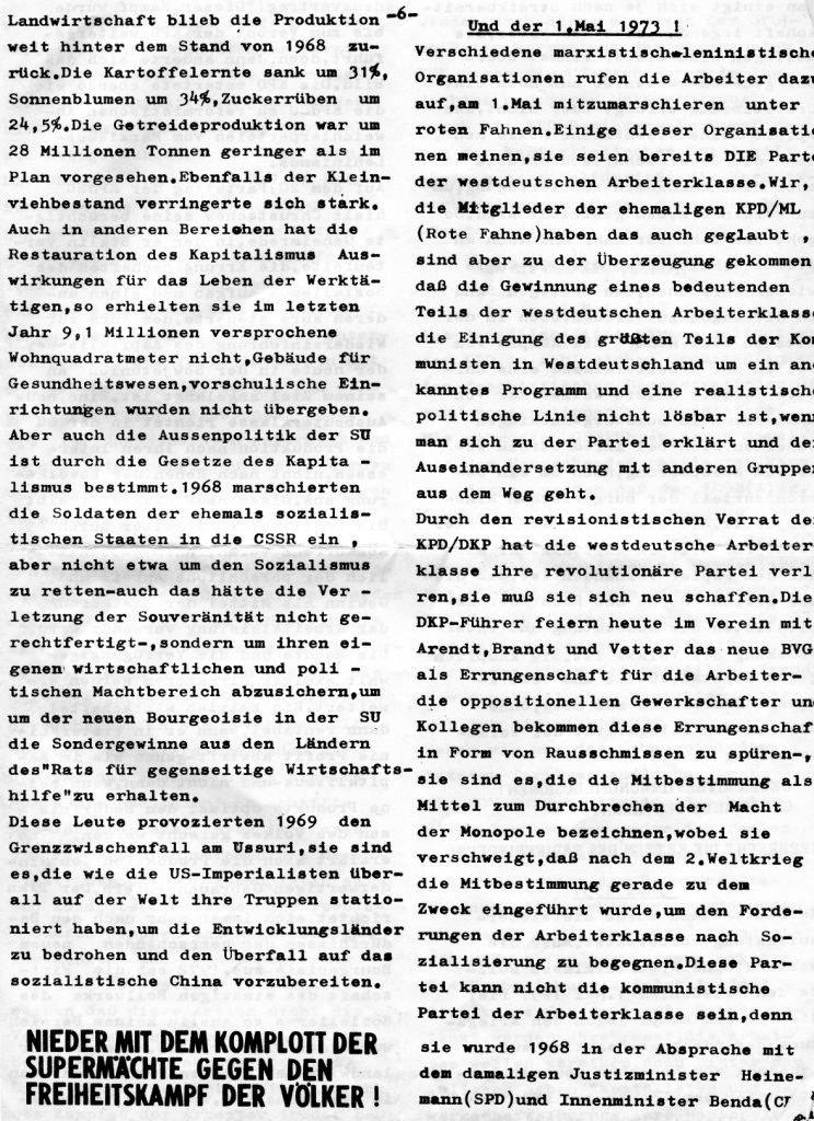 Essener Arbeiterzeitung, Nr. 1, Mai 1973, Seite 6