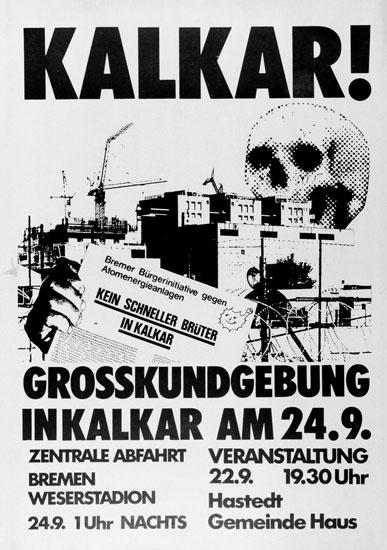 Plakat: Aufruf zur Demo am 24.9.1977 in Kalkar