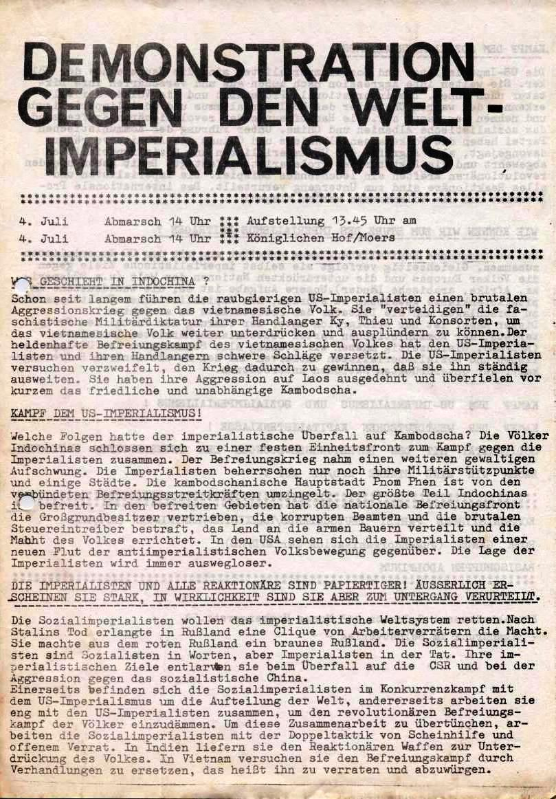 Flugblatt: Demonstration gegen den Weltimperialismus (4.7.1970, Vorderseite)