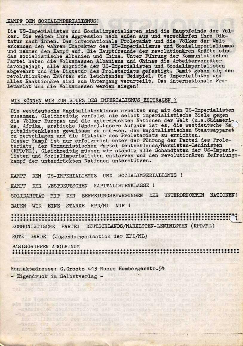 Flugblatt: Demonstration gegen den Weltimperialismus (4.7.1970, Rückseite)