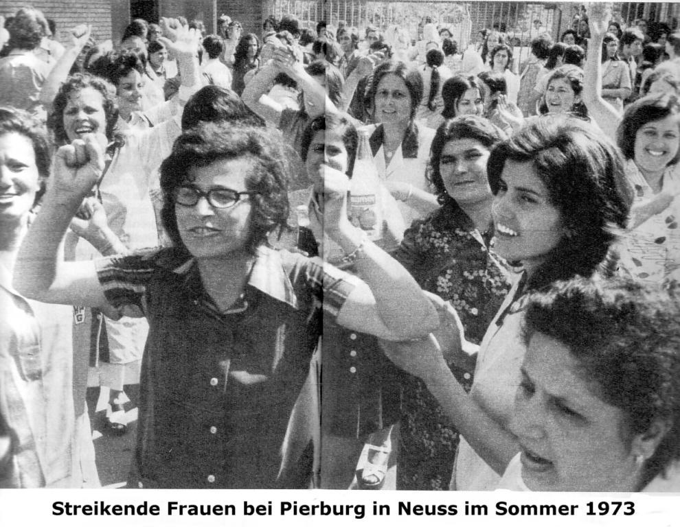Foto: Streikende Frauen bei Pierburg in Neuss im Sommer 1973