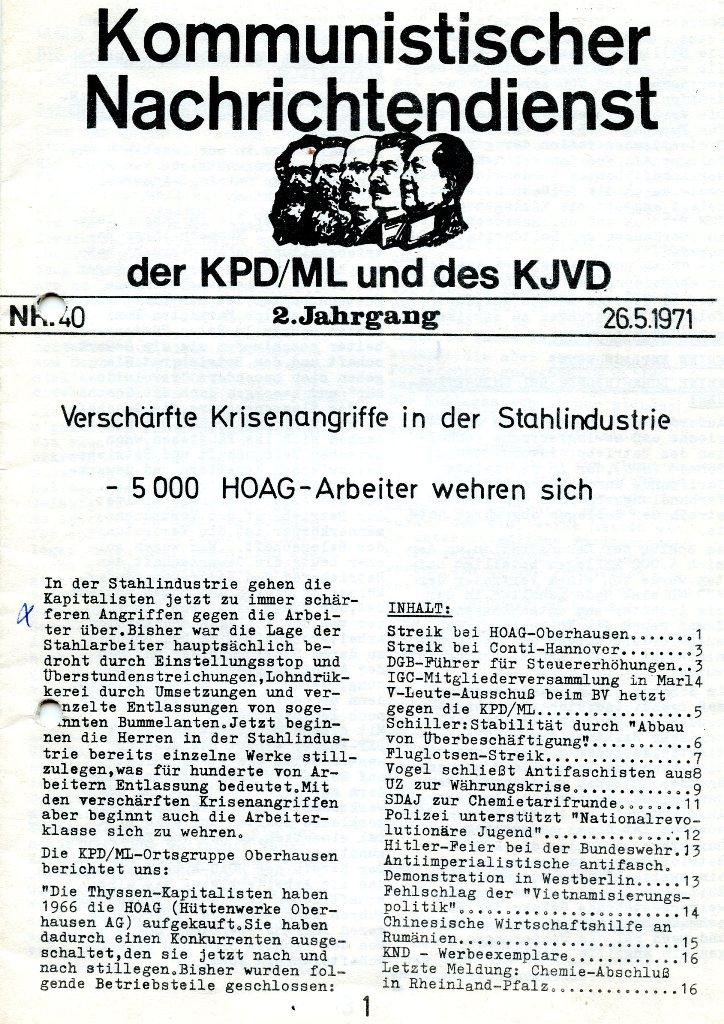 KND, Nr. 40, 2. Jg., 26.05.1971, S. 1
