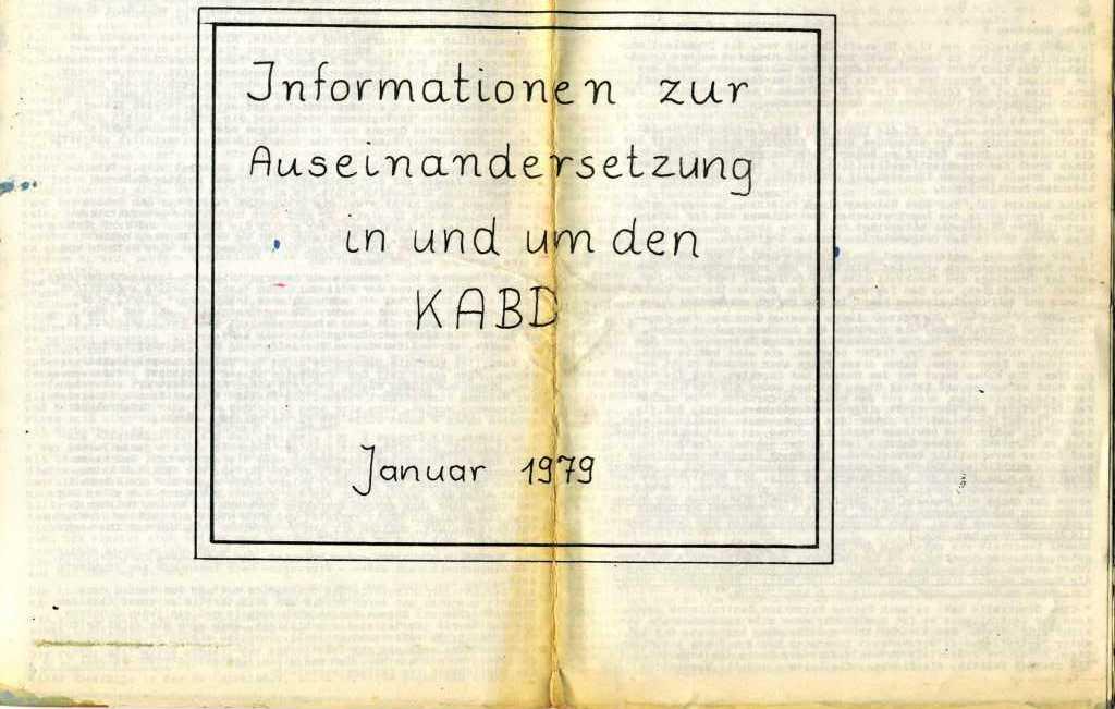 Informationen zur Auseinandersetzung in und um den KABD, Januar 1979, Titelblatt