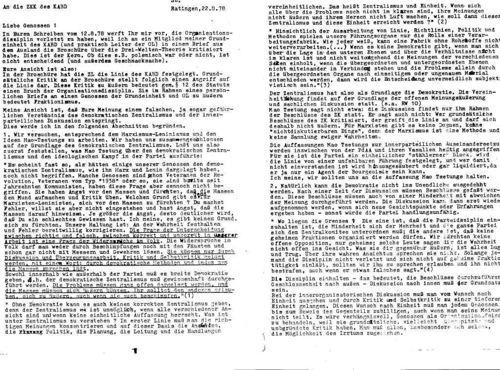 Informationen zur Auseinandersetzung in und um den KABD, Januar 1979, Seite 1f.