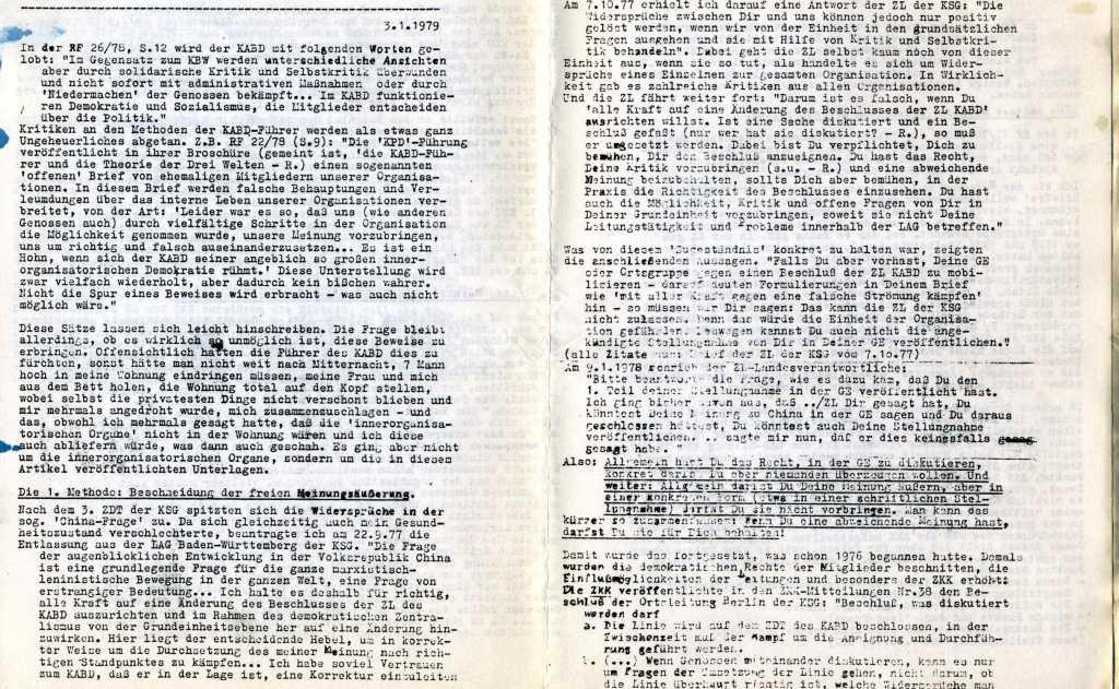 Informationen zur Auseinandersetzung in und um den KABD, Januar 1979, Seite 6f.