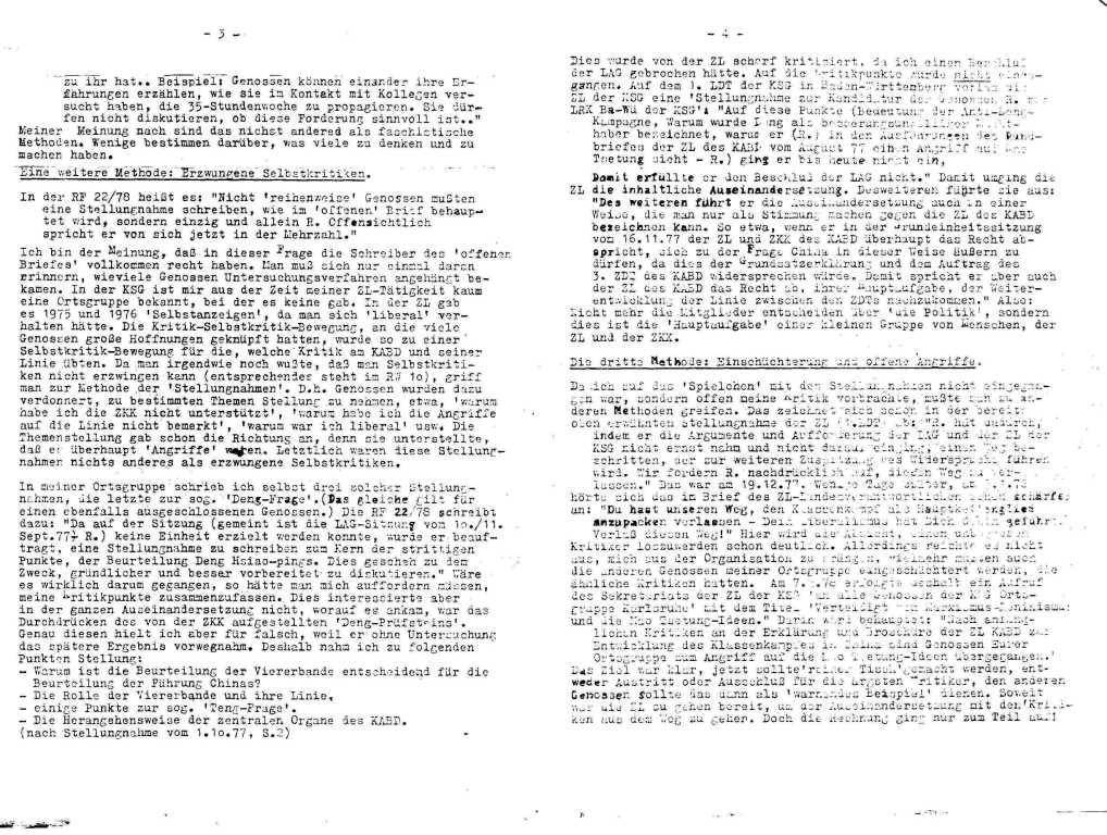 Informationen zur Auseinandersetzung in und um den KABD, Januar 1979, Seite 8f.
