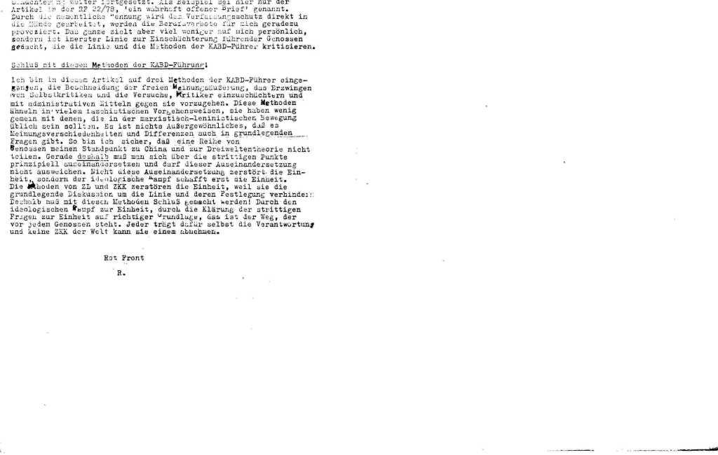 Informationen zur Auseinandersetzung in und um den KABD, Januar 1979, Seite 10f.