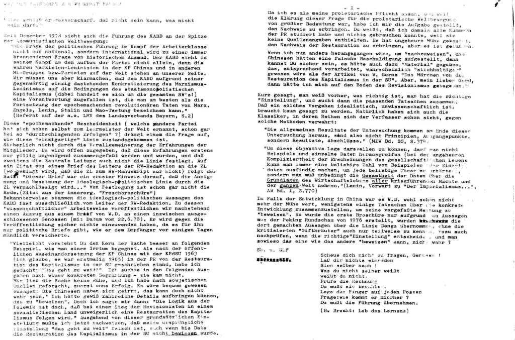 Informationen zur Auseinandersetzung in und um den KABD, Januar 1979, Seite 12.