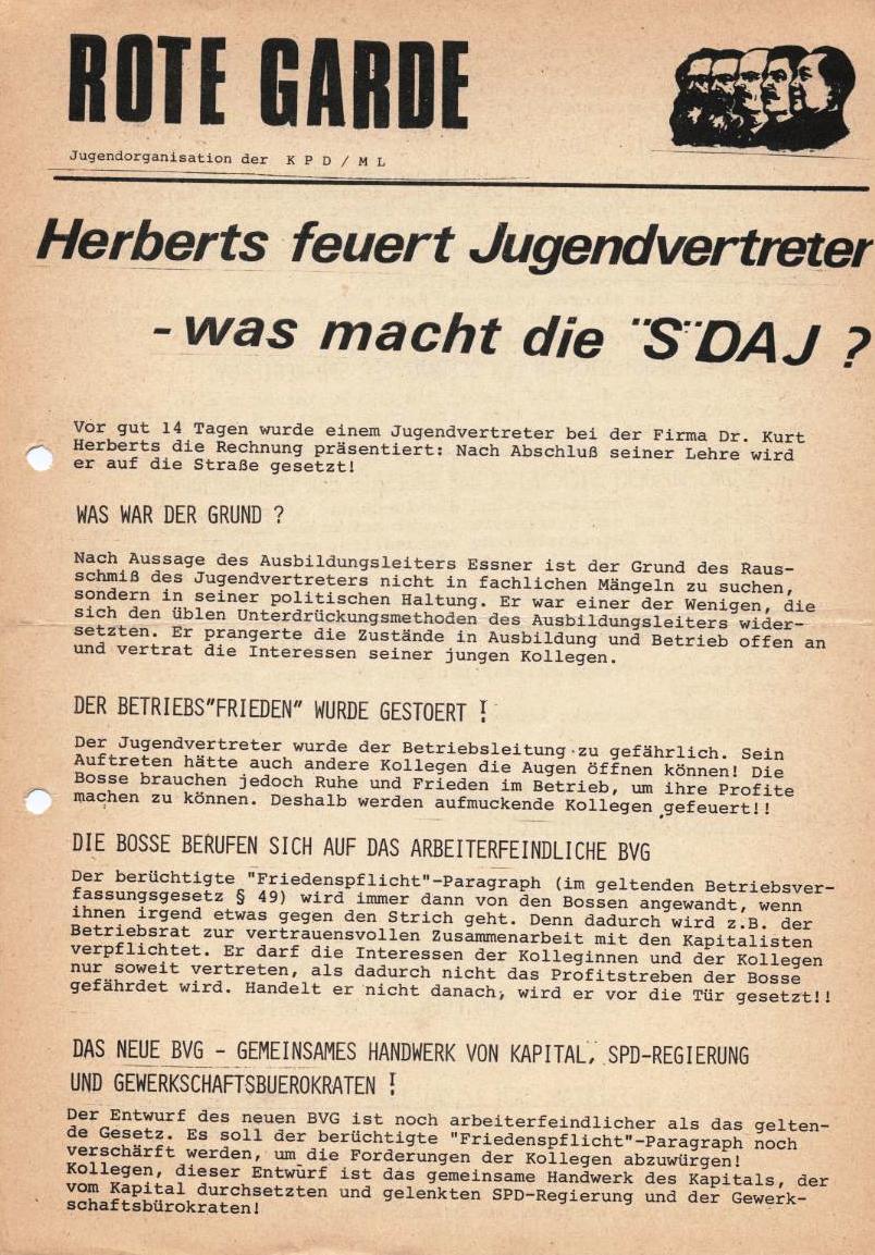 Herberts feuert Jugendvertreter _ Flugblatt der Roten Garde (Mai 1971, Vorderseite)