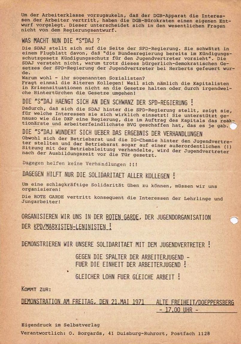Herberts feuert Jugendvertreter _ Flugblatt der Roten Garde (Mai 1971, Rückseite)