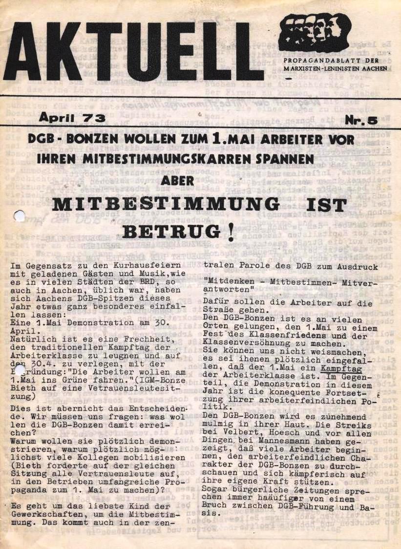 Aktuell _ Propagandablatt der Marxisten_Lenisten Aachen, Nr. 5, April 1973
