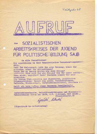 Flugblatt: Aufruf des SABJ (Früjahr 1968)