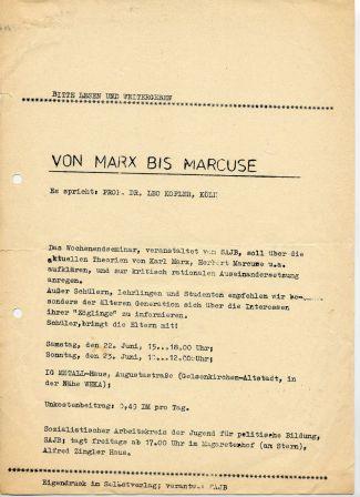 Flugblatt des SAJB zum Wochenendseminar: Von Marx bis Marcuse (Früjahr 1968)
