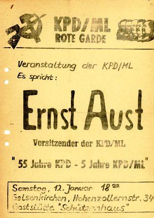 Flugblatt der RG (vermutlich Anfang 1970)