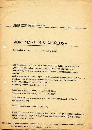 Einladung zum SAJB_Wochenendseminar mit Prof. Leo Kofler (1968)