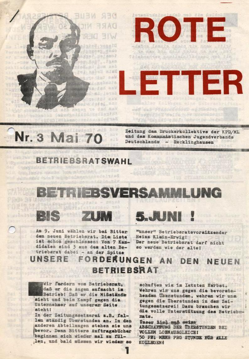 Rote Letter _ Zeitung des Druckereikollektivs der KPD/ML und des KJVD Recklinghausen, Nr. 3, Mai 1970