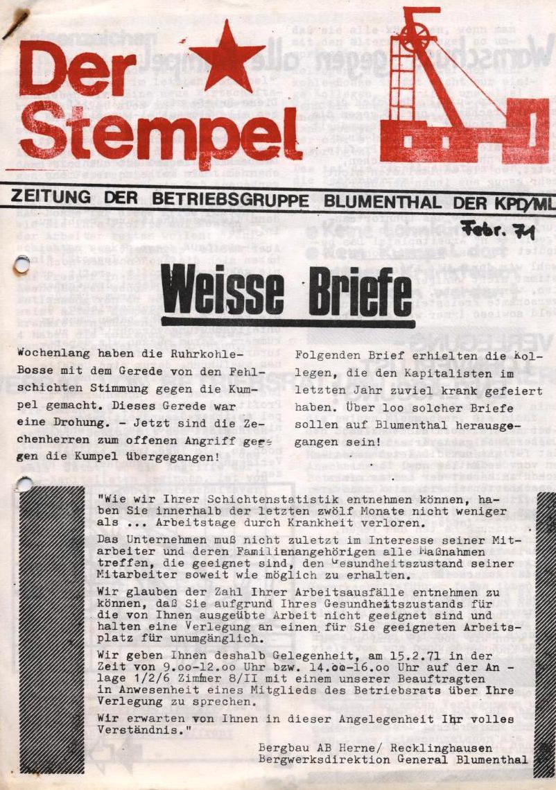 Der Stempel _ Zeitung der Betriebsgruppe Blumenthal der KPD/ML, Februar 1971