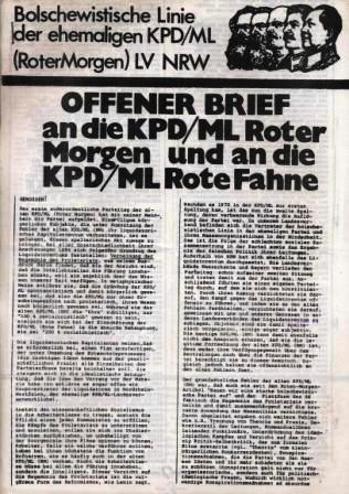 Bolschewistische Linie: Offener Brief an die KPD_ML (Roter Morgen) und an die KPD/ML (Rote Fahne)