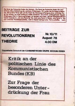 Beitraege zur revolutionaeren Theorie, Nr. 10/11, August 1978