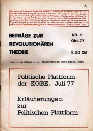 Beitraege zur revolutionaeren Theorie, Nr. 9, Oktober 1977