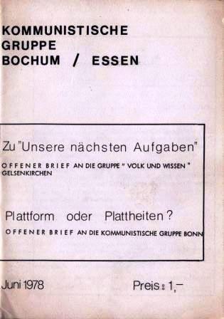 Offene Briefe an die Gelsenkirchener und die Bonner (Juni 1978)