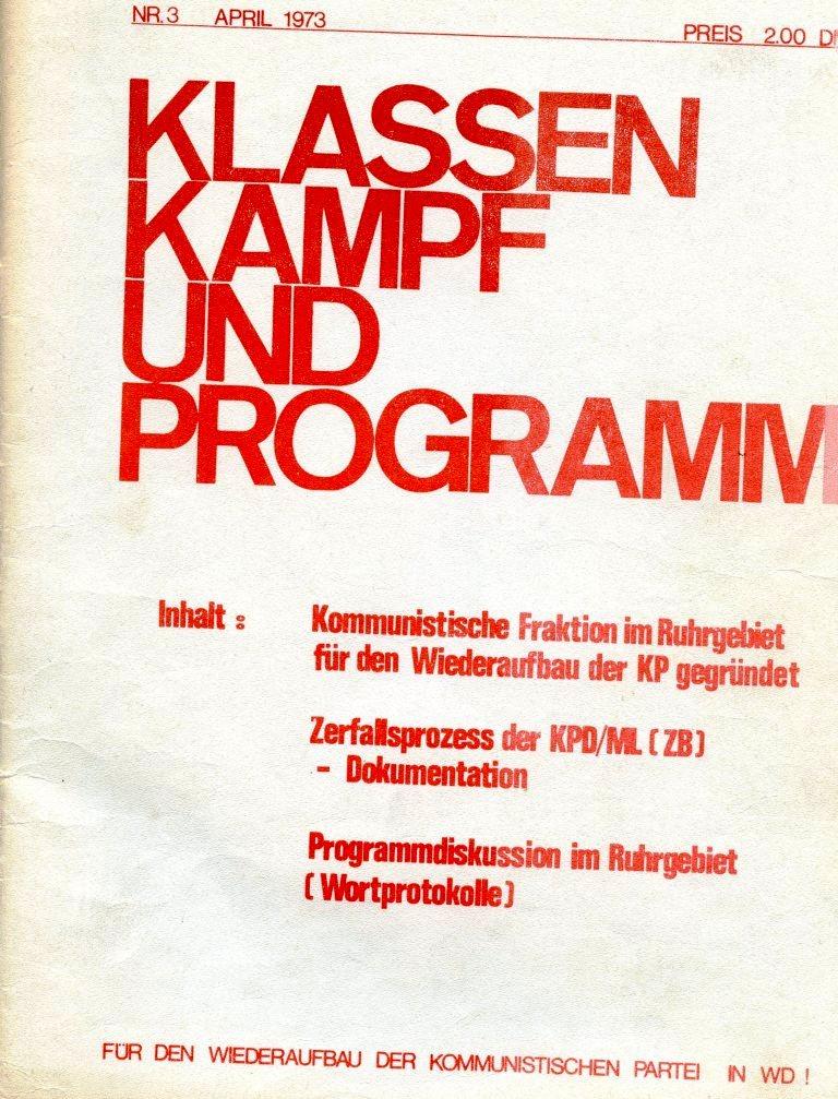 KlaPro 3/1973, Titelseite
