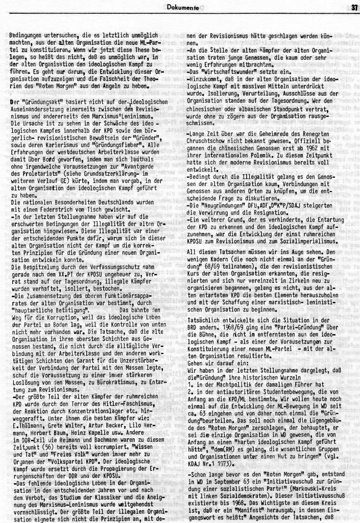 KlaPro 3/1973: Stellungnahme der OG Essen der RF_Organisation, Seite 37