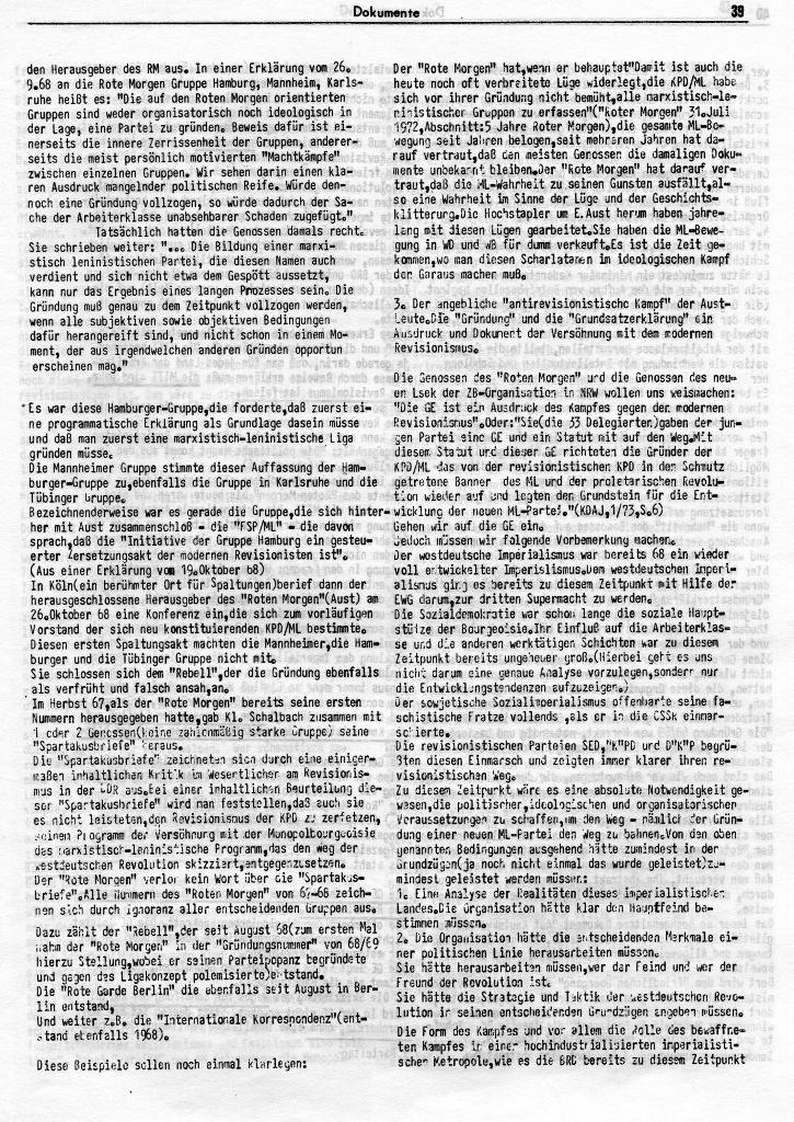 KlaPro 3/1973: Stellungnahme der OG Essen der RF_Organisation, Seite 39