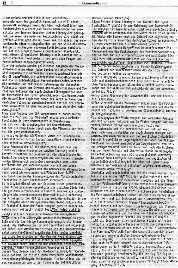 KlaPro 3/1973: Stellungnahme der OG Essen der RF_Organisation, Seite 42
