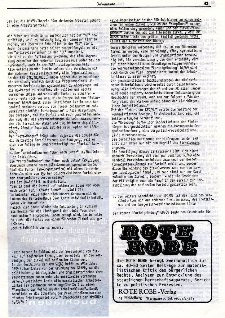 KlaPro 3/1973: Stellungnahme der OG Essen der RF_Organisation, Seite 43
