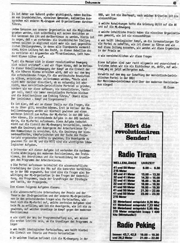 KlaPro 3/1973: Stellungnahme der OG Essen der RF_Organisation, Seite 47