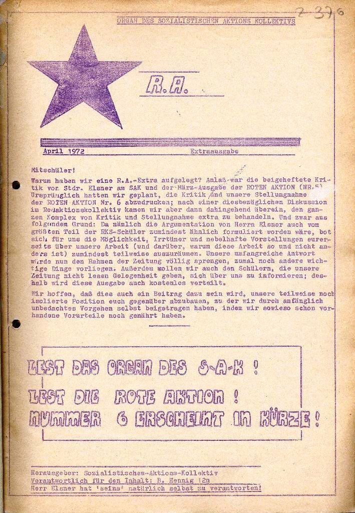 Rote Aktion _ Organ des SAK, Extra, April 1972, Seite 1