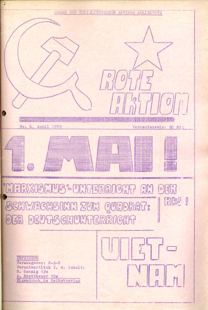 Rote Aktion _ Organ des SAK, Nr. 6, April 1972, Titelseite