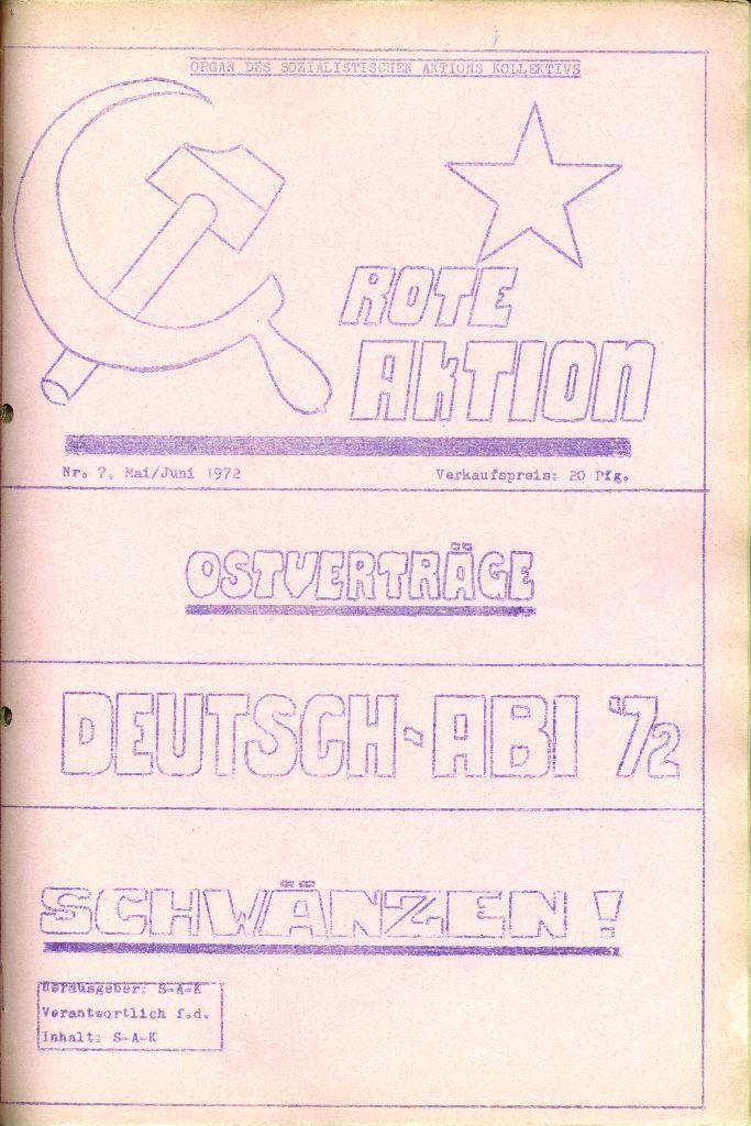 Rote Aktion _ Organ des SAK, Nr. 7, Mai/Juni 1972, Titelseite