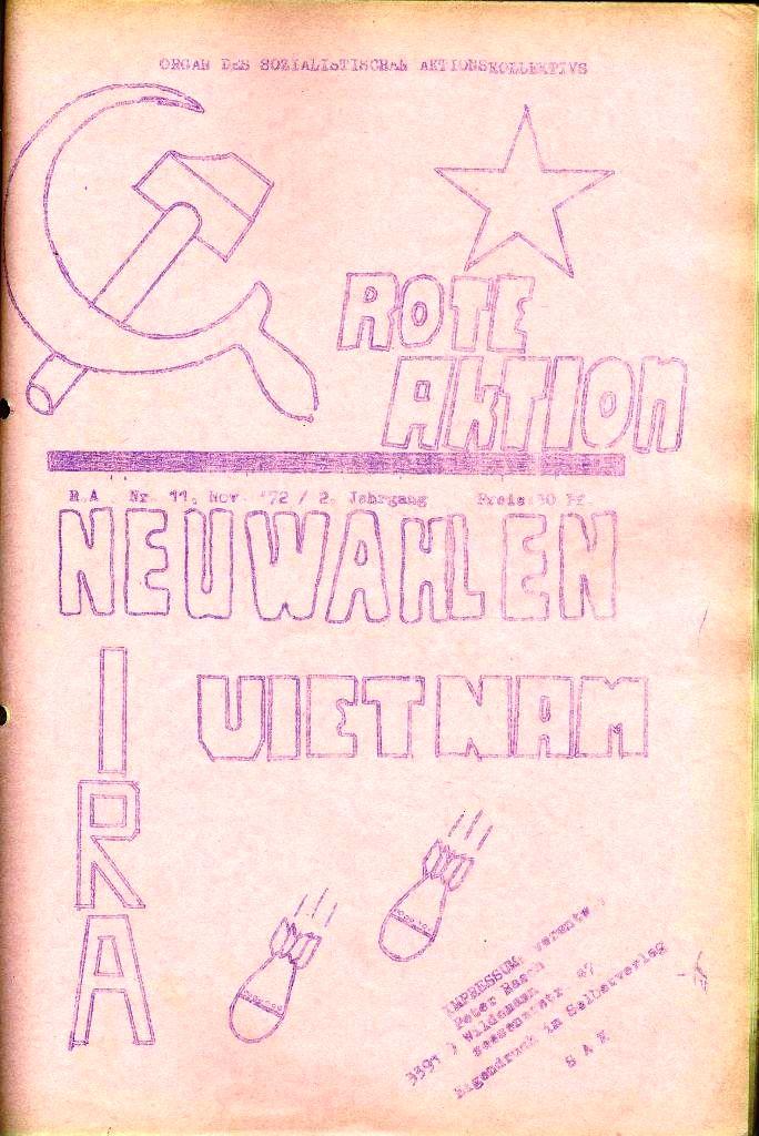 Rote Aktion _ Organ des SAK, Nr. 11, November, Titelseite