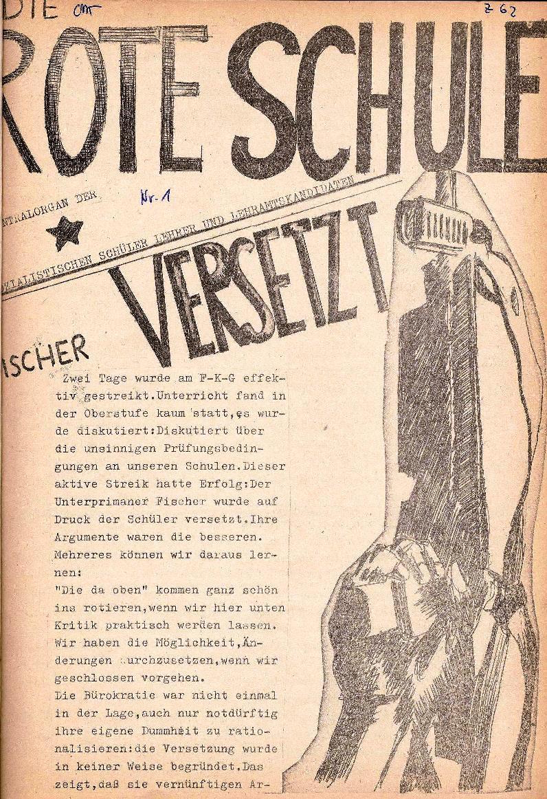 Rote Schule _ ZO der SSG, 1. Jg., 1969, Nr. 1, Seite 1
