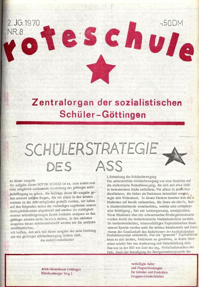 Rote Schule _ ZO der SSG, 2. Jg., 1970, Nr. 8, Seite 1