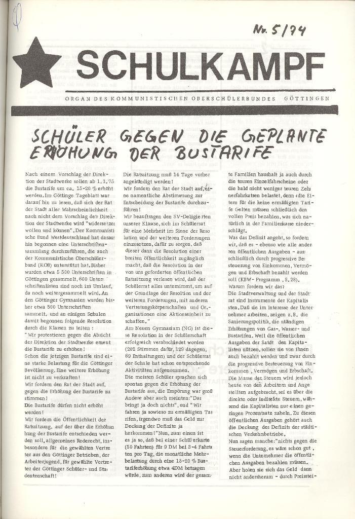 Organ des KOB Göttingen, Nr. 5, 1974, Seite 1
