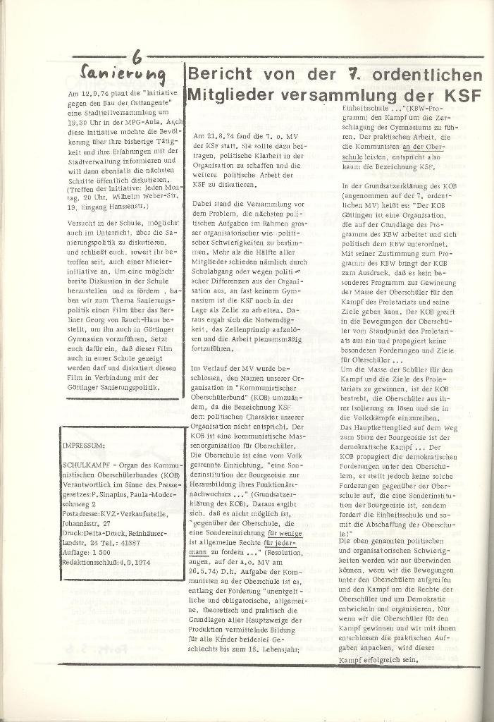 Organ des KOB Göttingen, Nr. 5, 1974, Seite 6