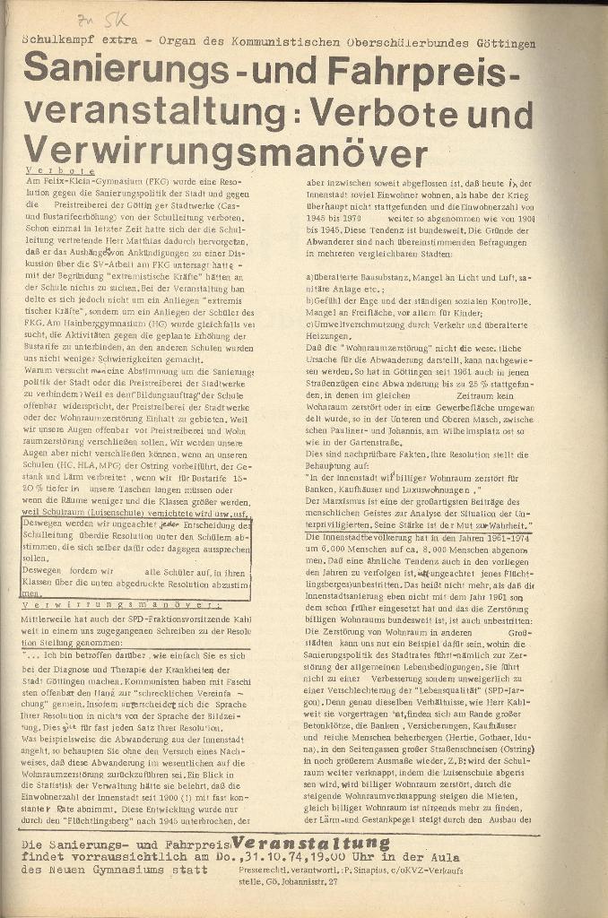 Organ des KOB Göttingen, Extra, Sanierungs_ ..., 1974, Seite 1