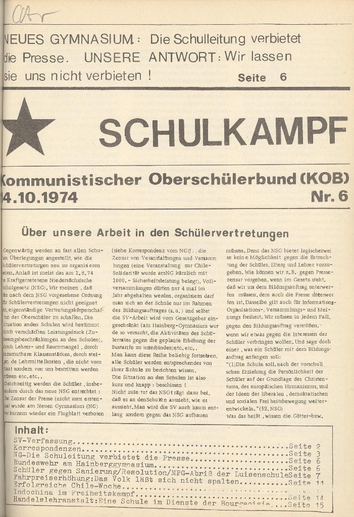 Organ des KOB Göttingen, Nr. 6, 1974, Seite 1