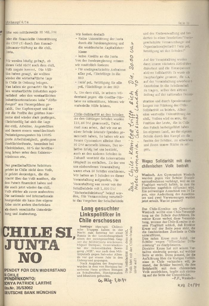 Organ des KOB Göttingen, Nr. 6, 1974, Seite 13