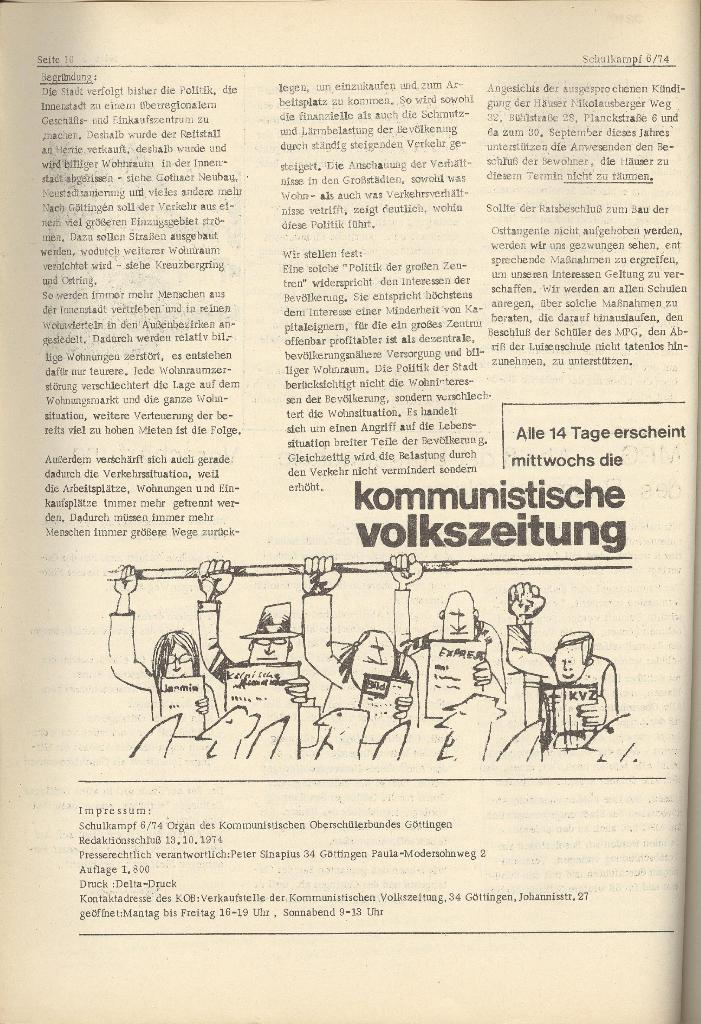 Organ des KOB Göttingen, Nr. 6, 1974, Seite 10