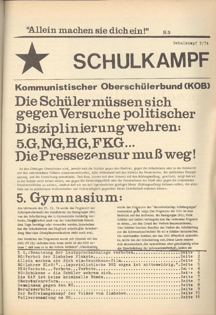 Organ des KOB Göttingen, Nr. 7, 1974, Seite 1