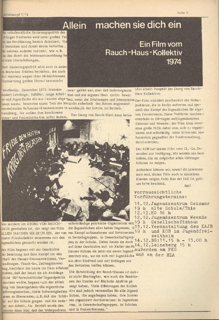 Schulkampf, Organ des KOB Göttingen, Nr. 7, 1974, Seite 3