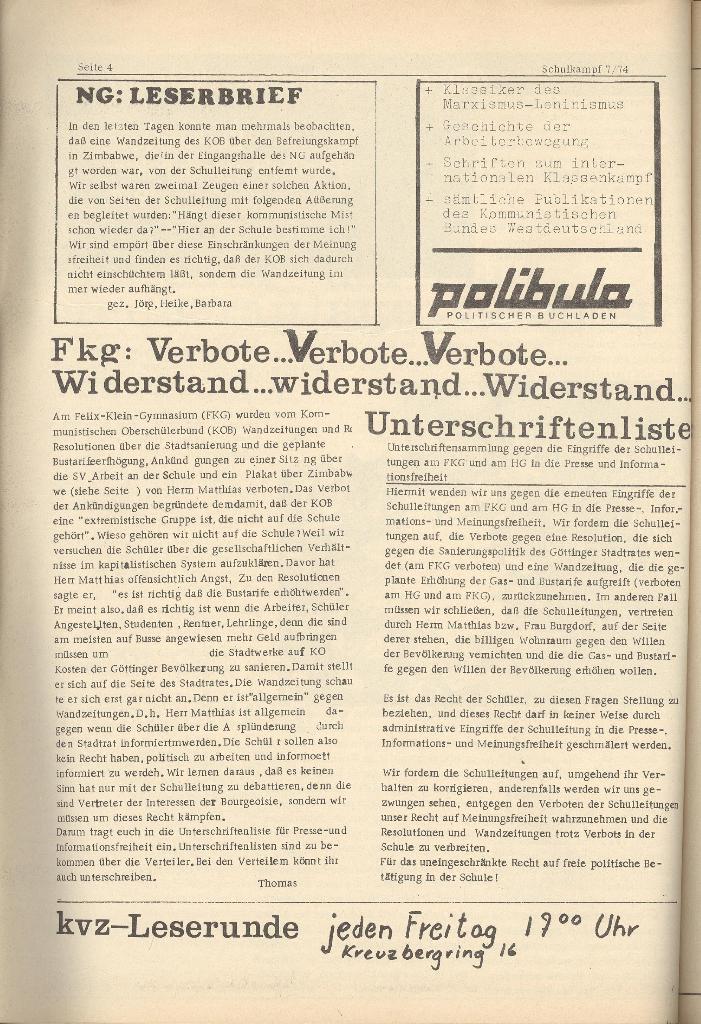 Organ des KOB Göttingen, Nr. 7, 1974, Seite 4