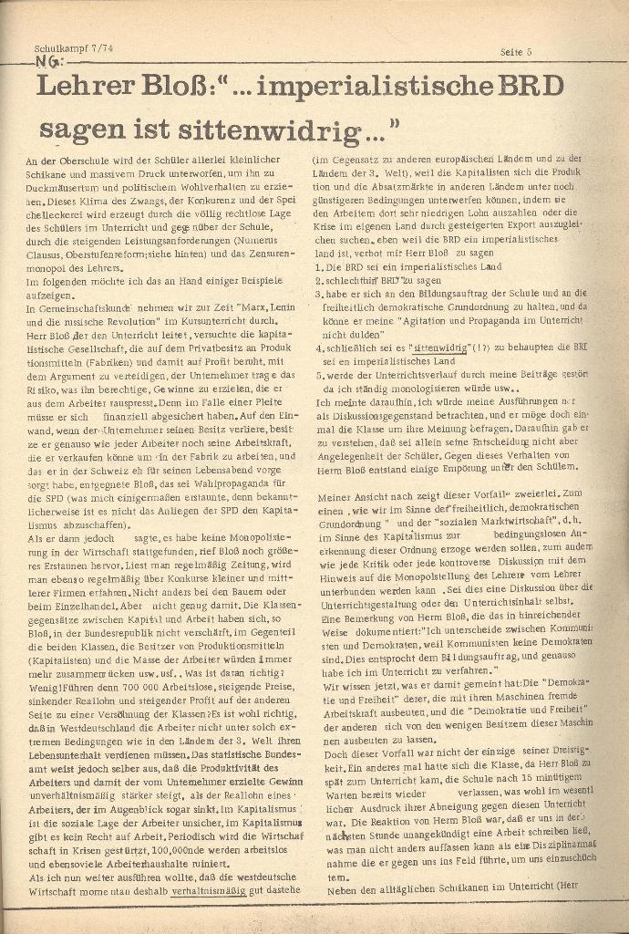 Organ des KOB Göttingen, Nr. 7, 1974, Seite 5