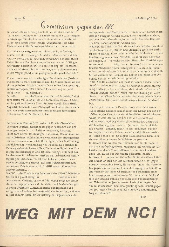 Organ des KOB Göttingen, Nr. 7, 1974, Seite 8