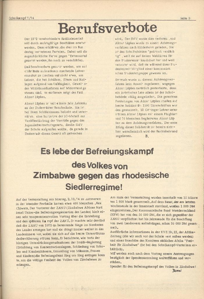 Organ des KOB Göttingen, Nr. 7, 1974, Seite 9